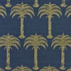 Marrakech Palm Fabric A stunning tropical fabric with a small scale palm tree design shown in gold on a midnight blue ground.