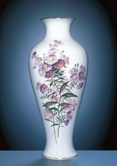 Vase, H 47,5 cm, Blumenmalerei, Herbstastern, impressionistische Manier, bunt, Goldrand