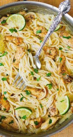 Cilantro Lime Sauce, Cilantro Lime Chicken, Creamy Chicken Pasta, Chicken Pasta Recipes, Healthy Chicken Pasta, Chicken Spaghetti Sauce, Sauces For Pasta, Chicken Pasta Casserole, Creamy Spaghetti