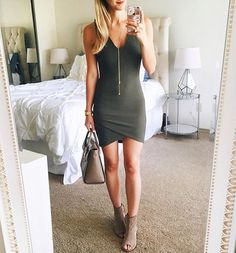 Olive body-con dress...😍Y'all, this pretty is on sale for $33 and is crazy gorgeous!!💥💕(Also comes in black...💃). Loving it with peep toe booties & a chic, structured handbag..👌🏼Add a leather or suede jacket to take it right into fall, too.🍂I just hit publish on an Instagram roundup (including this look!) so click the link in my bio to shop what you may have missed lately!😘🙌🏽@liketoknow.it http://liketk.it/2p9LH #liketkit #atx #austintx #sale #fashion #style #ootn