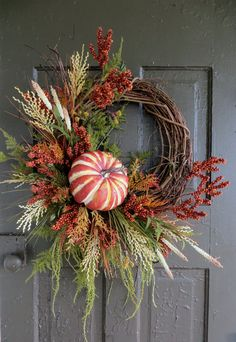 Fall Pumpkin Wreath Fall Foliage Wreath Autumn by WaysideFlorals Thanksgiving Wreaths, Autumn Wreaths, Wreath Fall, Wreaths For Front Door, Door Wreaths, Pumpkin Wreath, Wreath Crafts, Fall Pumpkins, Fall Halloween