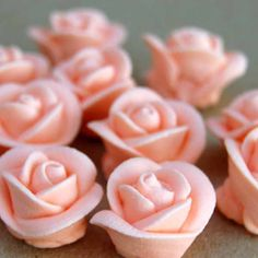 """- Peach Icing Roses - Classic peach icing roses, made from royal icing, give a sweet and professional look to your cupcakes, cakes and desserts. Perfect for standard or mini sized cupcakes. - 7/8""""(2.5"""