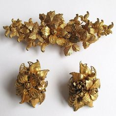 #1083 Large DeMario Floral Russian Gold Coloured Pin  Earrings   Exclusively at Lee Caplan Vintage Collection on RubyLane
