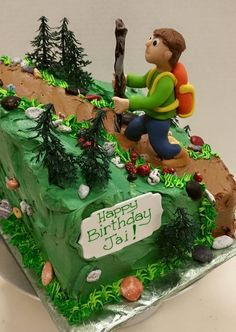 Shaped hiking trail cake, iced in buttercream, a sculpted fondant character, accessorized with chocolate rocks and artificial trees Birthday Cake For Mom, Birthday Cakes, Birthday Ideas, Happy Birthday, Camping Theme Cakes, Nature Cake, Chocolate Rocks, Kitchen Magic, Themed Cakes