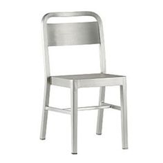 This lightweight danish chair, with its clean lines and simple, contemporary design, is a great choice for indoor or outdoor dining. This aluminum patio chair has a brushed aluminum finish and molded seat, for comfort and durability.