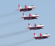 "Russian MiG-29 ""Swifts"" Demonstration Team Stacked"