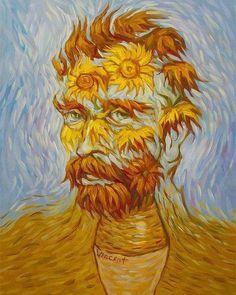 sunflowers van gogh self portrait art Optical Illusion Paintings, Optical Illusions, Van Gogh Tapete, Van Gogh Wallpaper, Van Gogh Pinturas, Van Gogh Self Portrait, Van Gogh Sunflowers, Van Gogh Art, Japon Illustration