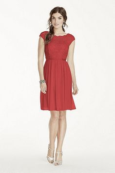 MORE COLORS Coming Soon! - Short Lace and Mesh Dress with Illusion Neckline Style F17019 In Store $149.95
