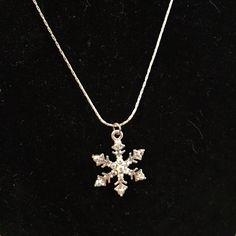 Snowflake necklace Silver necklace with iridescent rhinestones. Like new Jewelry Necklaces