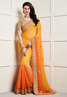 Embroidered Saree in Mustard Ombre