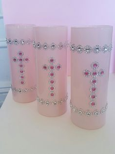 5 pc. Set -Pink baptism centerpieces, perfect for girls