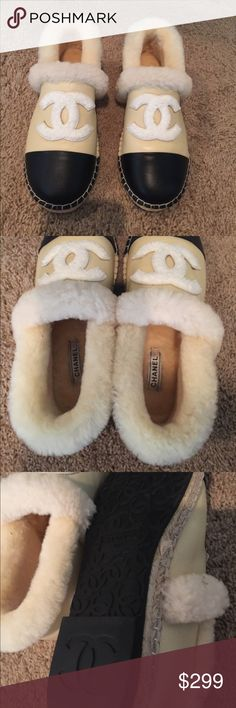 Chanel logo furry Espadrilles Chanel furry Espadrilles, super cute and soft. I wear a size 6 and it fits a little tight so 5.5 would fit great. Shoes Espadrilles
