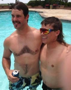 Doubled up mustache and soul patch - one set on the face, another on the chest.