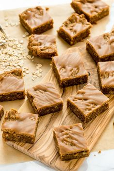 Peanut Butter Oat Blondies with Peanut Butter Drizzle (Vegan and Gluten-Free)
