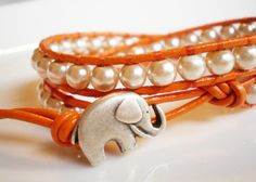 Tangerine Tango Leather Wrap Faux Pearls Elephant Btn on Etsy, $30.23 CAD