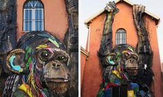 Bordalo II's art often sprawls across building walls.