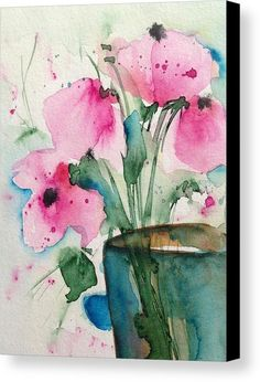 4 Pink Flowers Canvas Print by Britta Zehm. All canvas prints are professionally printed, assembled, and shipped within 3 - 4 business days and delivered ready-to-hang on your wall. Choose from multiple print sizes, border colors, and canvas materials.
