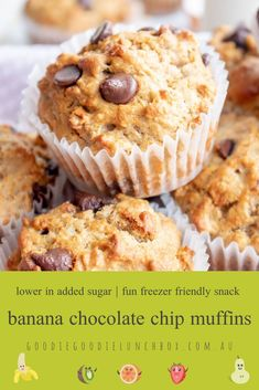 These lower in added sugar Banana Chocolate Chip Muffins are a fabulous breakfast or snack. Lunch Box Recipes, Baby Food Recipes, Whole Food Recipes, Breakfast Recipes, Baking With Toddlers, Banana Chocolate Chip Muffins, No Bake Treats, Healthy Sweets, Sweet Treats