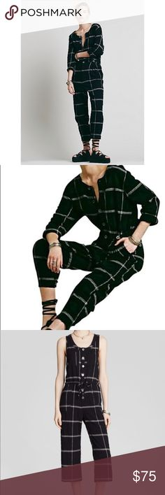 Plaid free people jumpsuit In excellent condition no wear or tears Free People Pants Jumpsuits & Rompers