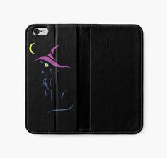 Halloween Black Cat Iphone Wallet Case #cats #blackcat #halloween #witch #pets