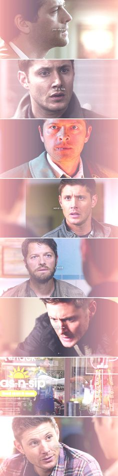 Dean + Castiel: You always look at him but you never say a word  about how he makes you feel #spn #destiel