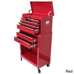 Excel 24-inch 8-drawer Tool Chest and Roller Cabinet Combination (Red)