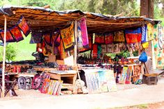 african market | African traditional market with handmade souvenirs in south…