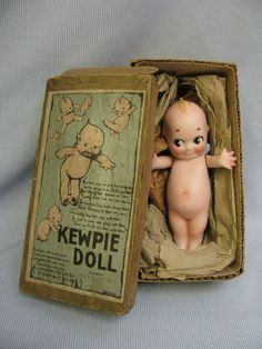The ORIGINAL kewpie doll.Connie used to facetiously accuse me of stealing her antique Kewpie doll - she finally found it among Mom's things - thank god, I was vindicated. Toy Art, Kitsch, Doll Toys, Baby Dolls, Oldschool, 3d Prints, Bisque Doll, Old Dolls, Little Doll
