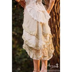 Gypsy Bohemian Hippie Skirt (Creamy White) Festival Bohemian Boho... (£51) ❤ liked on Polyvore featuring skirts, wrap skirt, white skirt, hippy skirts, white wrap skirt and hippie wrap skirt