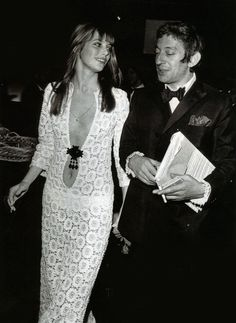THAT DRESS. Serge Gainsbourg and Jane Birkin, 1970s. Serge is digging the dress too.
