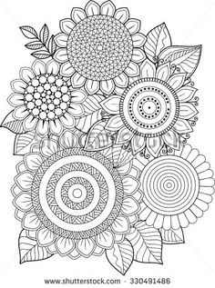 Coloring book adults meditation and relax. T-shirt graphic design. Print for summer Clothing. Sunflower Coloring Pages, Mandala Coloring Pages, Colouring Pages, Coloring Books, Coloring Sheets, Coloring Pages For Grown Ups, Adult Coloring Book Pages, Doodle Background, Fleur Design