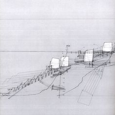 HOUSES ON THE MOVE, PROPOSAL FOR A RETREATING VILLAGE    SMOUT ALLEN    2007    PEN ON PAPER