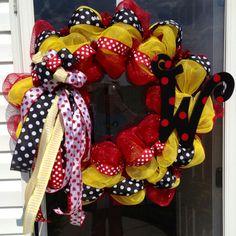 Polkadot ladybug wreath black red yellow initial mesh