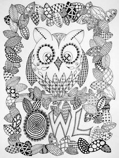 zentangle butterflies | Owl and Butterflies in Zentangle | Black Flower Creative