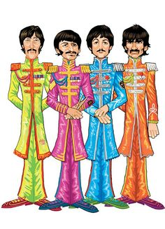 Sgt.peppers the beatles. Cartoon art.