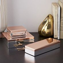 Bring a little glam to your desk. Made of steel with a felt-lined interior, these metallic Glimmer Boxes bring festive shine to tabletops and dressers. Red Home Accessories, Bridal Accessories, Decorative Accessories, Jewellery Storage, Jewelry Box, Steel Paint, New Furniture, E Design, Interior Design