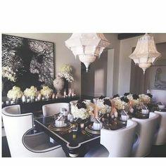 kloe Kardashian  diner table is purffff