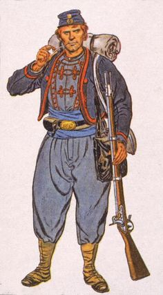 Illustration of one of Meagher's Zouaves, a member of the 69th New York regiment of volunteer Civil War soldiers