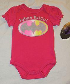 NEW Baby Future Batgirl Bodysuit Sizes NB thru 9 Months One Piece, Pink #BentexGroup