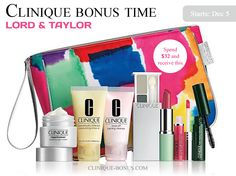 Presale available: Spend $32 to get this Clinique gift with purchase at Lord & Taylor. +Mention my website (clinique-bonus.com) and receive 2 extra samples. Exclusively.