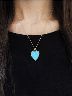 "Jennifer Meyer Jewelry - Turquoise Inlay Heart Pendant Necklace - Yellow Gold    We <3 Jennifer Meyer and are so in love with her turquoise heart necklace! Measuring 7/8"", it is set and backed in 18 karat gold and hangs from an 18"" chain with spring clasp. Luck be to the wearer who will adore this special piece!"