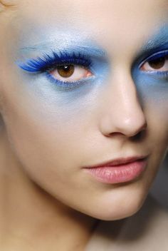 blue and white model ethereal makeup fashion catwalk runway