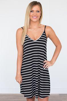 38c679d820b2c Crochet Back Striped Tank Dress - Black White - Magnolia Boutique ...