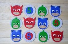 PJ Masks fondant cupcake topper, pj masks party, pj masks cupcakes, catboy, gekko, owlette by AmoreConfections on Etsy