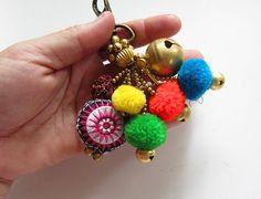 Pom Pom Luxury Keychain Brass Bead Keychain Pompom by midgetgems