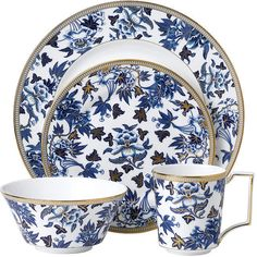Discover the Hibiscus 4 Piece Set from Wedgwood. Blue Hibiscus, Hand Lines, China Tea Sets, Gold Highlights, Dinner Sets, Dinner Ware, Dinner Plates, Floral Theme, Dishwasher Detergent