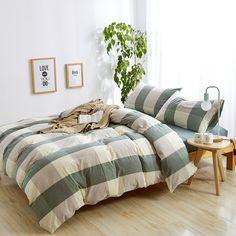 HIGHBUY 100% Natural Washed Cotton Duvet Cover Set King Geometric Plaid Pattern Luxury Soft King Bedding Sets