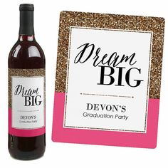 Sueña en grande etiquetas de botella de vino por BigDotOfHappiness