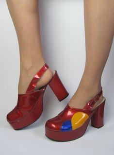 Vintage 1970s Original Glam Rock Platform High Heel Shoes from Virtual Vintage Clothing