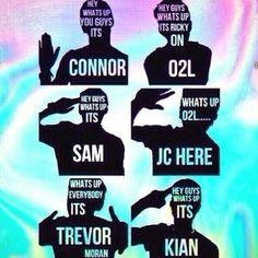 Connor Franta, Ricky Dillon, Sam Pottorff, Jc Caylen, Trevor Moran, and Kian Lawley. O2L